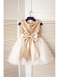 cheap -A-Line Knee Length Pageant Flower Girl Dresses - Tulle / Sequined Sleeveless Jewel Neck with Bow(s) / Sequin