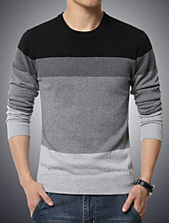 cheap -Men's Daily / Weekend Color Block Long Sleeve Plus Size Regular Pullover Sweater Jumper, Round Neck Fall / Winter Black / Navy Blue / Blue M / L / XL