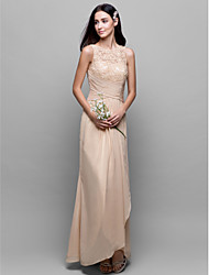 cheap -A-Line Bateau Neck Asymmetrical Chiffon / Lace Bodice Bridesmaid Dress with Lace / Criss Cross