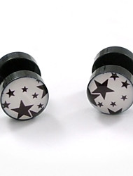 cheap -Men's Women's Stud Earrings Star Fashion Double Sided Stainless Steel Earrings Jewelry White / Black / Black / Red For Daily Casual Sports