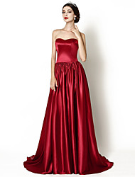 cheap -A-Line Formal Evening Dress Sweetheart Neckline Court Train Stretch Satin with 2021