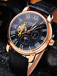 cheap -Men's Wrist Watch Mechanical Watch Automatic self-winding Leather Black / Brown 30 m Water Resistant / Waterproof Hollow Engraving Analog Ladies Luxury - Black Brown / White / Stainless Steel