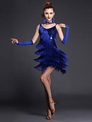 cheap -Latin Dance Dresses Women's Performance Polyester / Lycra Sequin / Tier / Split Front Short Sleeves / Sleeveless High Sexy Global Gals Dress / Gloves / Neckwear