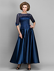 cheap -A-Line Mother of the Bride Dress See Through Bateau Neck Ankle Length Satin Half Sleeve with Lace Pleats 2021