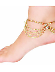 cheap -Women's Anklet feet jewelry Layered Tassel Stacking Stackable Ladies Tassel Vintage Party Work Imitation Diamond Anklet Jewelry Screen Color For Daily
