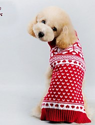 cheap -Cat Dog Coat Sweater Winter Dog Clothes Red Costume Mixed Material Heart Cosplay Christmas XXS XS S M