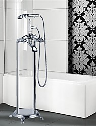 cheap -Art Deco/Retro Floor Mounted Floor Standing Ceramic Valve Three Handles One Hole Chrome, Bathtub Faucet