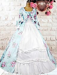 preiswerte -Maria Antonietta Lolita Urlaubskleid Kleid Ballkleid Damen Baumwolle Japanisch Cosplay Kostüme Leicht Blau Druck Blumen Langarm Mittlerer Länge