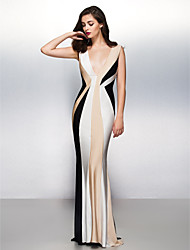 cheap -Mermaid / Trumpet Color Block Elegant Open Back Formal Evening Black Tie Gala Dress Plunging Neck Sleeveless Sweep / Brush Train Jersey with Pleats 2020