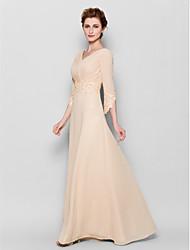 cheap -Sheath / Column V Neck Floor Length Chiffon 3/4 Length Sleeve Elegant Mother of the Bride Dress with Criss Cross / Appliques 2020