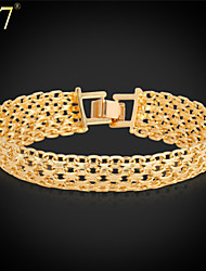 cheap -U7® Unisex Simple Style 18K Real Gold Plated Fashion Jewelry New Trendy Unique 8'' Chunky Link Chain Bracelet