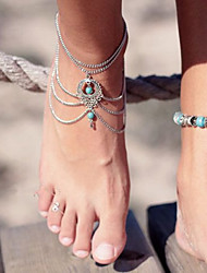 cheap -Anklet Barefoot Sandals Ladies Unique Design Party Women's Body Jewelry For Party Birthday Layered Hollow Out Turquoise Turquoise Alloy Drop Screen Color