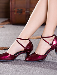 cheap -Women's Modern Shoes Ballroom Shoes Line Dance Heel Buckle Hollow-out Cuban Heel Burgundy Black Red Buckle
