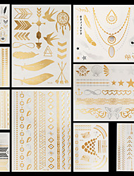 cheap -10 pcs Temporary Tattoos Waterproof / Non Toxic / Halloween Hand / brachium Paper Metallic Tattoo / Pattern / Lower Back
