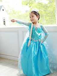 cheap -Princess Fairytale Elsa Dress Cosplay Costume Party Costume Girls' Movie Cosplay A-Line Slip Vacation Dress Blue Dress Christmas Halloween Children's Day Chiffon Terylene Cotton