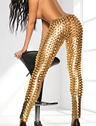 cheap -Hot Girl Shiny Metallic Hollowed Leather Dress Sexy Uniform