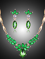 cheap -Pearl Jewelry Set Pendant Necklace Marquise Cut Ladies Vintage Party Fashion Elegant Cubic Zirconia Earrings Jewelry Emerald For Wedding Party Special Occasion Anniversary Birthday Engagement