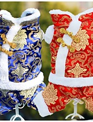 cheap -Cat Dog Coat Winter Dog Clothes Red Blue Costume Polar Fleece Cotton Embroidered Cosplay Wedding XS S M L XL