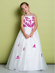 cheap -A-Line Floor Length Pageant Flower Girl Dresses - Organza Sleeveless Jewel Neck with Beading / Appliques