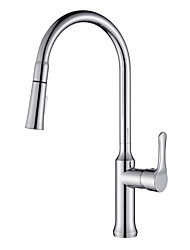 cheap -Kitchen faucet - One Hole Chrome Pull-out / Pull-down / Tall / High Arc Deck Mounted Contemporary Kitchen Taps / Brass / Single Handle One Hole