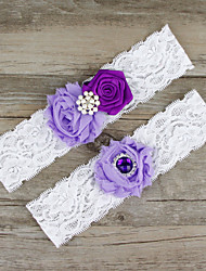 cheap -Chiffon / Lace / Satin Fashion Wedding Garter With Lace / Beading / Flower Garters