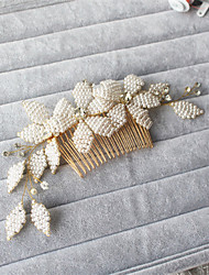 cheap -Two Flower Beaded Petal - Wedding / Special Occasion Hair Combs 1 Piece