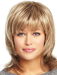 cheap -Human Hair Wig Wavy Wavy Capless Dark Brown / Dark Auburn Strawberry Blonde / Bleach Blonde Golden Brown / Bleach Blonde