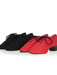 cheap -Women's Modern Shoes / Ballroom Shoes Canvas Lace-up Sneaker / Split Sole Ruched / Lace-up / Fur Chunky Heel Non Customizable Dance Shoes Black / Red / Indoor / Performance / Practice / Professional