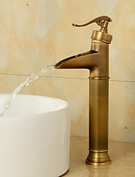 cheap -Brass Antique Bronze Bathroom Sink Faucet,Wall Mount Waterfall Single Handle One Hole Bath Taps with Hot and Cold Switch and Ceramic Valve