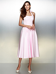 cheap -A-Line Lace Up Prom Formal Evening Dress Halter Neck Sleeveless Tea Length Satin with Bow(s) 2020
