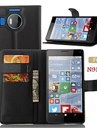 cheap -Case For Nokia Wallet / Card Holder / with Stand Full Body Cases Solid Colored Hard PU Leather