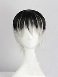 cheap -Cosplay Costume Wig Synthetic Wig Straight kinky Straight kinky straight Straight Asymmetrical Wig Short Rainbow Synthetic Hair Men's Natural Hairline Black Gray