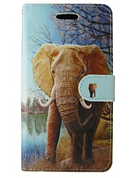 cheap -Case For iPhone SE / 5s Wallet / Card Holder / with Stand Full Body Cases Animal / Elephant Hard PU Leather