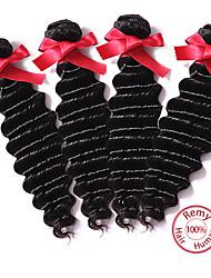 cheap -4 Bundles Peruvian Hair Deep Wave Natural Color Hair Weaves / Hair Bulk Human Hair Weaves Human Hair Extensions / 8A