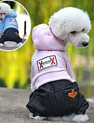 cheap -Dog Hoodie Jumpsuit Winter Dog Clothes Light Blue Pink Dark Blue Costume Polar Fleece Cotton Jeans Cowboy Fashion XS S M L XL