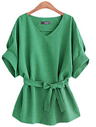 cheap -Women's Daily Weekend Plus Size Puff Sleeve Cotton Blouse - Solid Colored Pleated V Neck Green / Summer