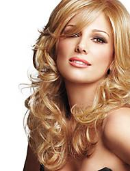 cheap -Human Hair Blend Wig Wavy Wavy Capless Dark Brown / Dark Auburn Beige Blonde / Bleach Blonde Chestnut Brown#6