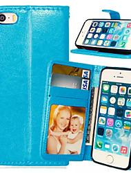 Недорогие -Кейс для Назначение iPhone 5 / Apple iPhone SE / 5s / iPhone 5 Кошелек / Бумажник для карт / со стендом Чехол Однотонный Твердый Кожа PU