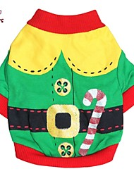 cheap -Cat / Dog Costume / Coat / Shirt / T-Shirt Dog Clothes Red / Green Cotton Costume For Pets Men's / Women's Cosplay / Halloween / Christmas