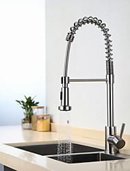 cheap -Kitchen faucet - One Hole Stainless Steel Pull-out / ­Pull-down Deck Mounted Contemporary Kitchen Taps / Single Handle One Hole