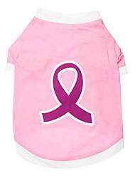 abordables -Chat Chien Tee-shirt Vêtements pour Chien Respirable Rose Costume Coton Floral Botanique Mode XS S M L