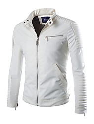 cheap -Men's Daily / Weekend Spring / Fall / Winter Jacket, Solid Colored Long Sleeve PU White / Black