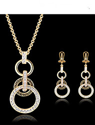 cheap -Jewelry Set Pendant Necklace Ladies Vintage Party Work European 18K Gold Plated Cubic Zirconia Earrings Jewelry Gold For Wedding Masquerade Engagement Party Prom Promise
