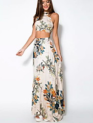 cheap -Women's Boho Holiday Beach Boho Maxi Swing Two Piece Sundress - Floral Backless Print Halter Neck Summer Cotton White M L XL