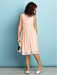 cheap -A-Line Jewel Neck Knee Length Chiffon Junior Bridesmaid Dress with Criss Cross / Natural / Mini Me