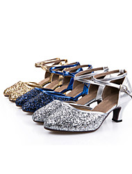 cheap -Women's Modern Shoes / Ballroom Shoes Sparkling Glitter / Paillette / Synthetic Buckle Sandal / Heel / Sneaker Sequin / Lace-up / Hollow-out Cuban Heel Non Customizable Dance Shoes Silver / Blue