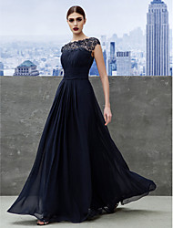 cheap -A-Line Boat Neck Floor Length Georgette Empire / Blue Formal Evening / Wedding Guest Dress with Ruched / Lace Insert 2020