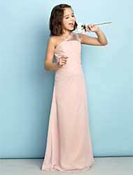 cheap -Princess One Shoulder Floor Length Chiffon Junior Bridesmaid Dress with Crystals / Side Draping / Natural / Mini Me
