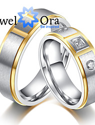 cheap -Women's Band Ring Groove Rings Cubic Zirconia Gold Gold / White Cubic Zirconia Steel Fashion Party Jewelry