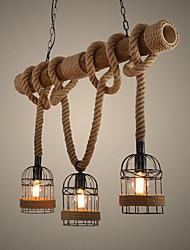 abordables -Luminaire suspendu à 3 ampoules corde de chanvre downlight autres bois / bambou mini style 110-120v / 220-240v ampoule blanc chaud non inclus / e26 / e27
